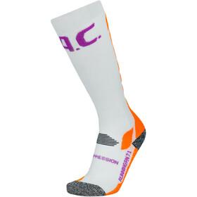 P.A.C. RN 7.1 Running Pro Compression Socks Women, bianco/arancione